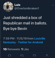A screenshot of a tweet from a deleted account went viral on the night of the Kentucky general election.
