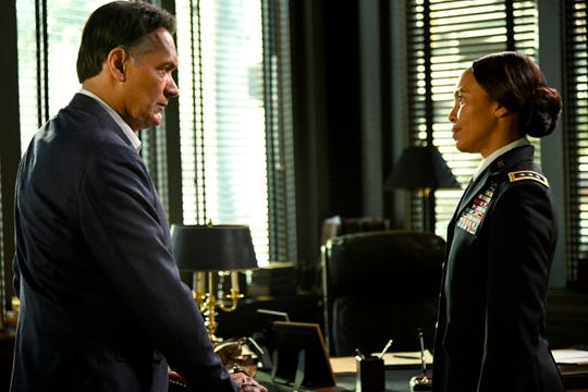 """""""Need To Know"""" Episode 108:  Jimmy Smits as Elijah Strait and Eisa Davis as General Virginia Howe"""