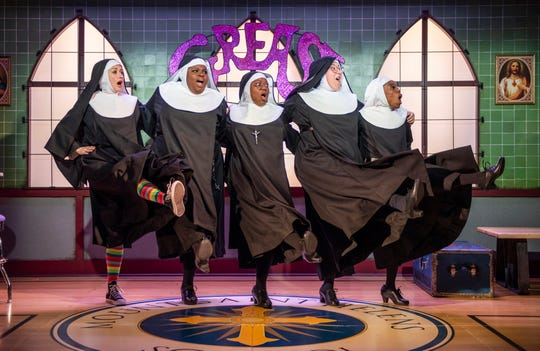 "Kelley Faulkner, Lachrisa Grandberry, Melody Betts, Veronica Garza and Candace Thomas perform in ""Nunsense,"" staged by Milwaukee Repertory Theater at the Stackner Cabaret."