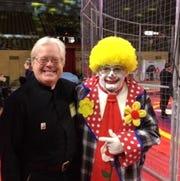Gary Nosacek meets a clown at the Tripoli Shrine Circus Milwaukee show earlier this year.