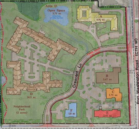 The site plan for a proposed $65 million development at the northwestern corner of Port Washington and Highland roads features, in alphabetical order, an assisted living center, medical office building, professional office building,  senior living community, hotel and daycare.