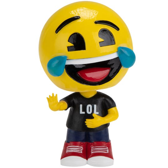 The LOL emoji bobblehead is one of five emoji bobbleheads for sale at the National Bobblehead Hall of Fame and Museum.