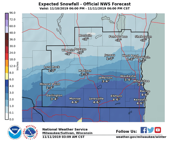Snow was falling across far southern Wisconsin on Monday morning.
