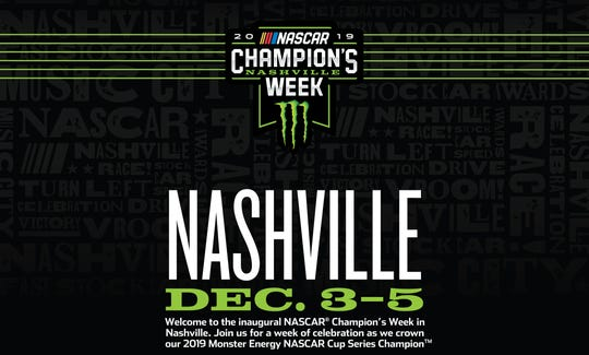 NASCAR Champion's Week is coming to Nashville Dec. 3-5 at Music City Center.