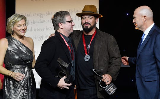 """Beautiful Crazy,"" co-written by Wyatt Durrette III, center, was named SESAC Song of the Year at the 2019 SESAC Nashville Music Awards Sunday, Nov. 10, 2019, in Nashville,Tenn."