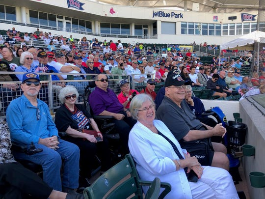 Veterans, family and friends attend a Veterans Day ceremony Monday, Nov. 11, 2019, at jetBlue Park in Fort Myers.