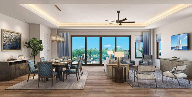 The Clubhouse Residences at Moorings Park Grande Lake are located on the floors above the clubhouse amenities and offer panoramic lake and golf course views.
