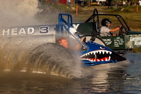 Roll On ahead of Trump Head in the big feature final during the Swamp Buggy Races at Florida Sports Park on Sunday, November 10, 2019, in Naples.