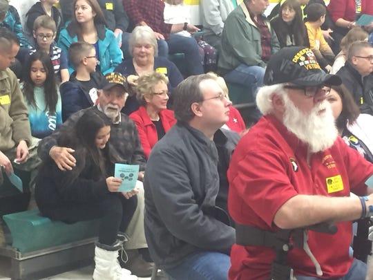 Veterans listen to the Nov. 11 program at Etna Elementary.
