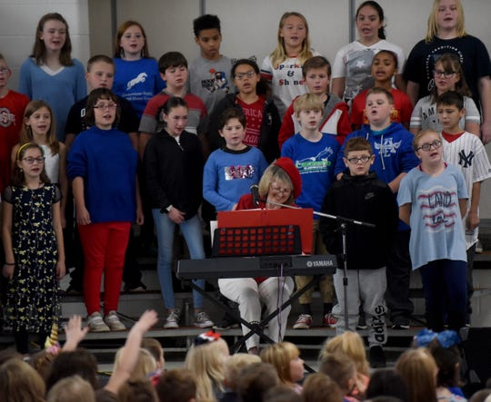 The Legend Elementary School Choir and Celeste Reichert Friedman present a Salute to Veterans on Monday, November 11. Guests and speakers included Mayor Jeff Hall, The Newark High School Junior Reserve Officers' Training Corps, and local veterans.