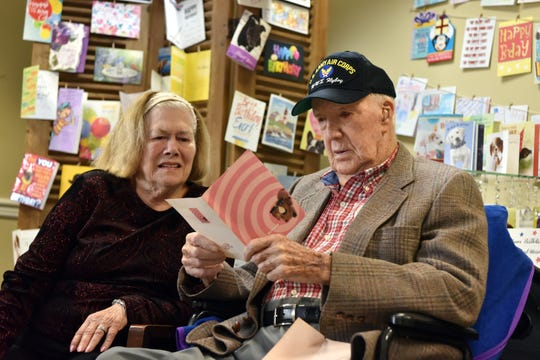 WWII veteran Michael David Diederich, 101, served as a nose gunner and bombardier in a B-24 bomber, and completed 35 missions over Germany during WWII. U.S. Diederich will turn 102 on November 20th and hopes to receive 102 birthday cards. Diederich opens early birthday cards with his wife Dorothy at CareOne at the Cupola in Paramus on November 11, 2019.