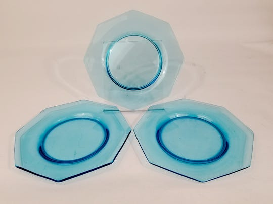 Ice blue Depression glass like this is a chilly sell here in the warm desert.