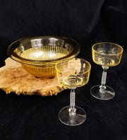 When first introduced, amber glass was not a big seller but has since gained adherents among collectors.