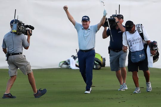Jeff Maggert  celebrates after an eagle shot from the fairway to win the Charles Schwab Cup Championship on the third playoff hole during the final round at Phoenix Country Club on November 10, 2019 in Phoenix, Arizona.