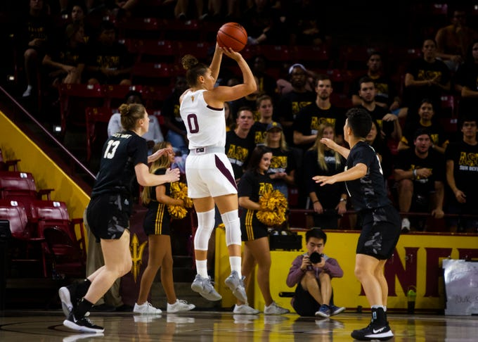 Arizona State guard Taya Hanson (0) during an NCAA women's basketball game between Arizona State and Army  at Wells Fargo Arena on Sunday, Nov. 10, 2019.