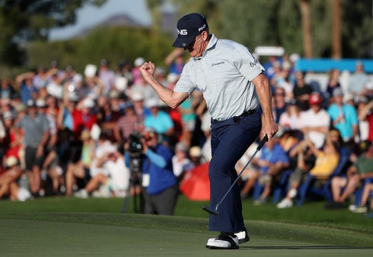Jeff Maggert celebrates his birdie putt on the 18th green during the final round of the Charles Schwab Cup Championship at Phoenix Country Club on November 10, 2019 in Phoenix, Arizona.