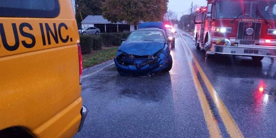 Two Paradise Elementary students complained of back pain after this car rear-ended the school van they were riding in Nov. 7, 2019, at the intersection of Big Mount Road and Route 30 (Lincoln Highway), police said.