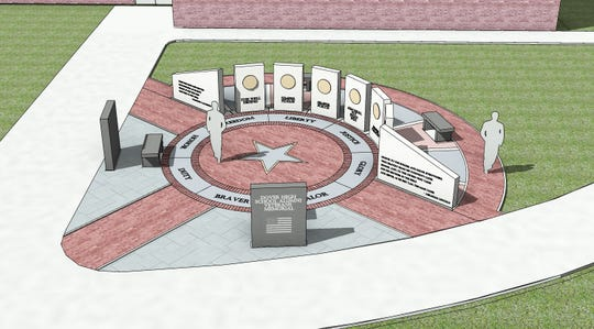 A rendering of the Veterans Memorial planned next to the new Dover Area High School.