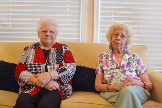 Alverta Mitzel, left, and Dottie Westerhold, the Gross twins from Dover, Pa., have always lived near each other, and now they're in the same retirement community, Providence Place Senior Living of Dover. They've often been told they don't look like twins; they're actual fraternal twins, not identical.