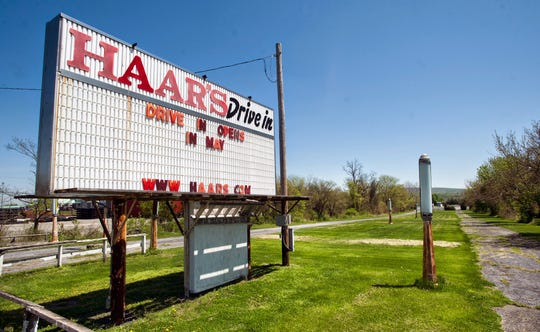 The original entrance of Haar's Drive-in in 1952 was accessed from a dirt road that is now Route 15 according to Vickie Hardy. It is still visible from Route 15 but no longer accessible. As the sign looked in May 2013.