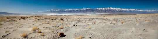 Panorama of Owens Lake, California and the Eastern Sierra Mountains.  Dust blowing from the dry lakebed is problematic and the Los Angeles Department of Water and Power has been attempting to control the dust since 1998.