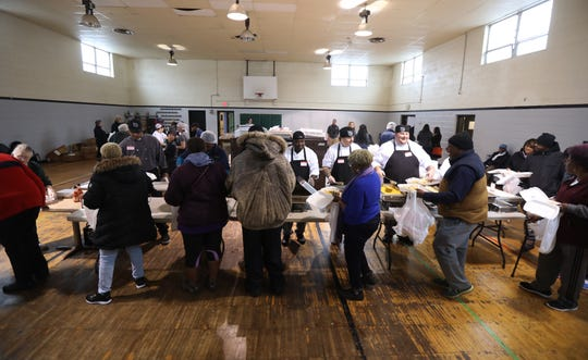 The Rosa Wims 34th annual Thanksgiving dinner. The meal was free and open to the public with people able to choose their sides and desserts.
