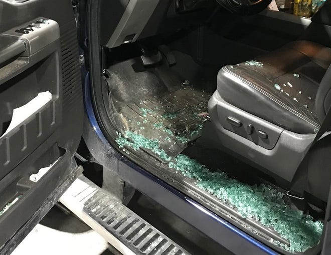 The California Highway Patrol is asking for the public's assistance in locating the person, or persons, responsible for 38 reported incidents of objects striking vehicles traveling upon SR-156 and US-101 in the Prunedale area. In this photo provided Nov. 8, 2019, a vehicle's window was shattered by one of the objects.