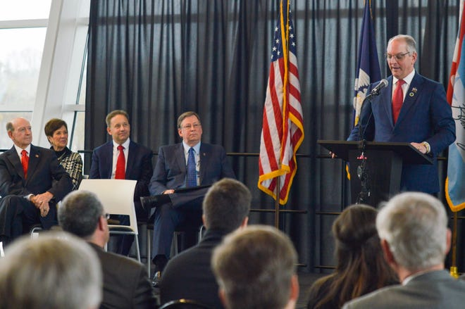 Louisiana Gov. John Bel Edwards announces the $10 million commitment to the Cyber Innovation Center on Monday, Nov. 11, 2019.