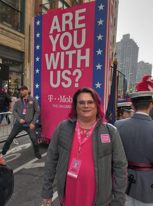 Mandy Monsees, a 24-year-Navy veteran from Springfield, participated in the New York City Veterans Day Parade on Monday.