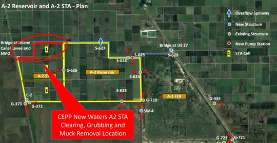 Map shows how site preparation work will take place along a canal on the northwest corner of the proposed Everglades Agricultural Area Reservoir Project.