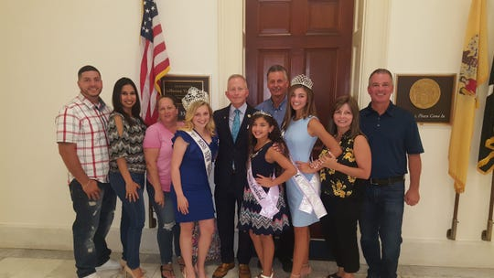 Miss Vineland Marissa Marchese, Miss New Jersey Junior Teen Madison Stiles, Little Miss Vineland Jaslene Candelaria and their parents recently spent a day in Washington, D.C., where they were honored for their individual projects by Congressman Jeff Van Drew.