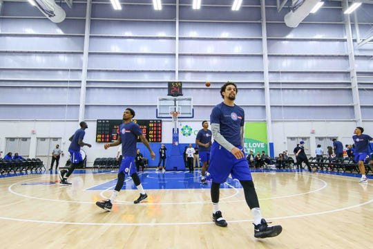 Delaware Bluecoats players seen warming up prior a NBA G-League regular season basketball game between the Bluecoats and the Maine Red Claws (Boston Celtics) Saturday, Nov. 09, 2019, at the 76ers Fieldhouse in Wilmington, DE