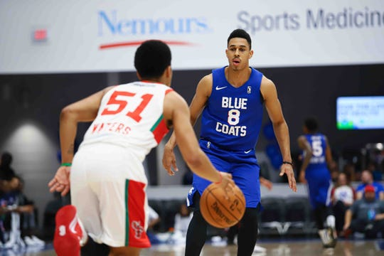 Delaware Blue Coats Guard Zhaire Smith plays defense in the first half Nov. 9 against the Maine Red Claws in Wilmington.