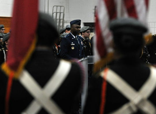 Sheppard Air Force Base Colonel Kenyon Bell was the special guest speaker, Monday morning, during the WFISD's annual Veteran's Day Ceremony held at the McNiel Junior High School gym.