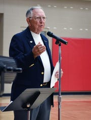 U. S. Army (ret.) Col. V.B. Corn Jr. speaks about the history of Veterans Day during an event Monday at Christ Academy. Corn served in the Vietnam War and Operation Desert Storm.
