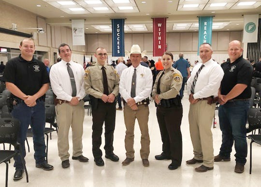Several members of the Montague County Sheriff's staff attended the graduation ceremony for the latest recruits. They included: (Left) Deputy Ryan Blackburn, Investigator Ethan Romine, Deputy Daniel Carter, Sheriff Marshall Thomas, Deputy Ashley Dennis, Chief Deputy Jack Lawson and Deputy Matt Sawyer.