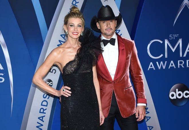 Faith Hill and Tim McGraw arrive at the 51st annual CMA Awards on Nov. 8, 2017, in Nashville, Tenn.
