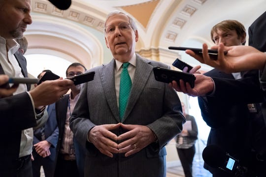Senate Majority Leader Mitch McConnell, R-Ky., speaks to reporters at the Capitol in Washington, Wednesday, Nov. 6, 2019.