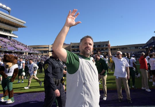 Baylor coach Matt Rhule reacts after defeating this team defeated TCU in triple overtime at Amon G. Carter Stadium.