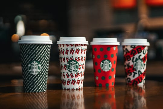 The Starbucks 2019 holiday cups offer customers four designs from which to choose.