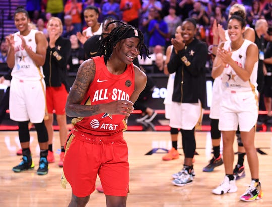 Team Wilson guard Erica Wheeler (17) reacts to being named MVP of the WNBA All Star Game at Mandalay Bay Events Center in July.