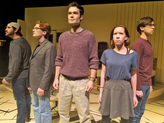 """Student activists gather to fight the Nazis in this rehearsal scene from Abilene Christian University's play """"The White Rose."""" From left, Christoph Probst (Richard Gomez), Alexander Schmorell (Wade Byington), Hans Scholl (Rankin Dean), Sophie Scholl (Carly Carroll) and Wilhelm Graf (Hayden Casey) gather to speak out against the Furher."""