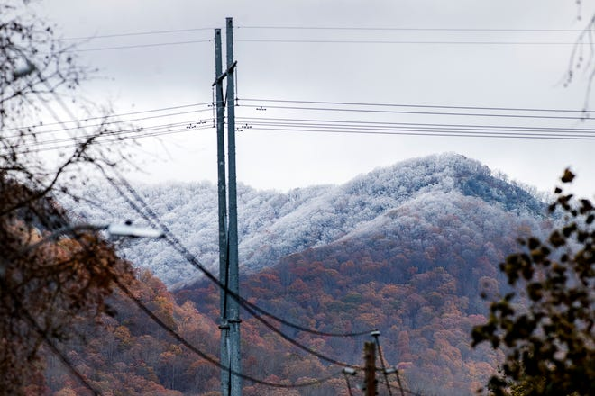 Higher elevations are coated in snow and ice on Nov. 12, 2019.