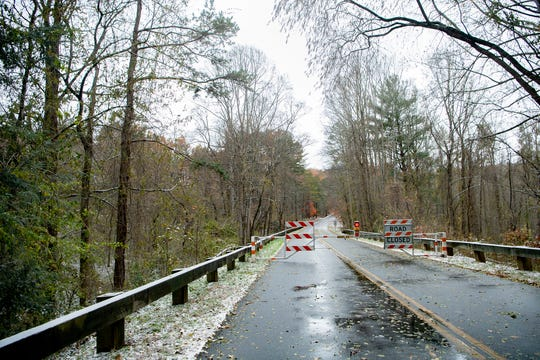 The Blue Ridge Parkway was closed north of the Folk Art Center after a dusting of snow and other wintry weather on Nov. 12, 2019.