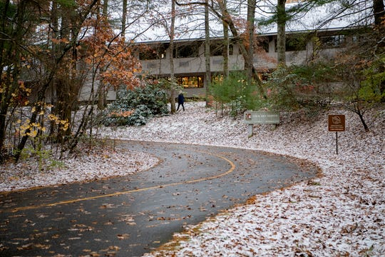 The Folk Art Center was still open although the Blue Ridge Parkway was closed heading north after a dusting of snow and other wintry weather on Nov. 12, 2019.