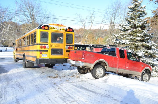 A pick-up truck struck the rear of a Lakeview school bus Tuesday afternoon on Timberlane Drive at Chapel Hill Drive.