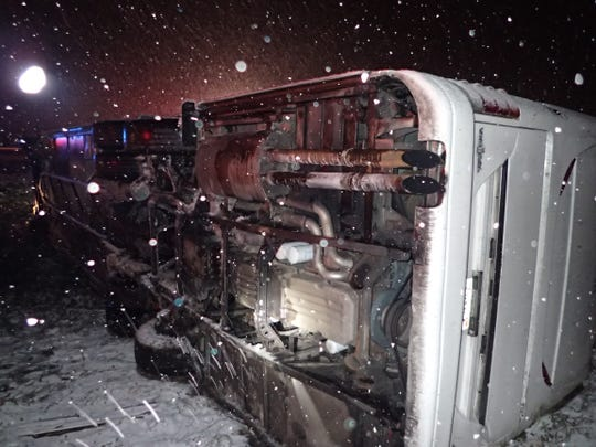 No one was hurt after a bus crashed early Tuesday, Nov. 12, 2019 in Cortland County amid snow-covered road conditions.