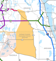 The sand-colored area depicts where traffic engineers may design the Northeast Connector Expressway Extension.