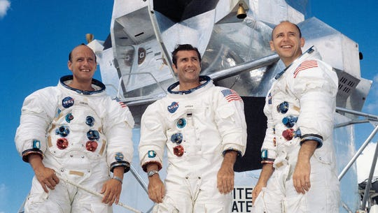 The Apollo 12 crew of commander Pete Conrad, left, command module pilot Richard Gordon, center, and lunar module pilot Alan Bean.