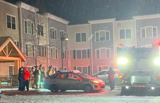 Emergency crews respond to a fire at the Residences at Great Cedar at 277 East Allen Street in Winooski on Monday night, Nov. 11, 2019.